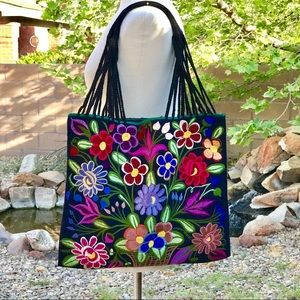 Mexican Handwoven Tote bag Bohemian floral Bag